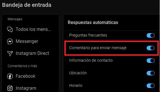 Configurar Comentario para enviar mensaje