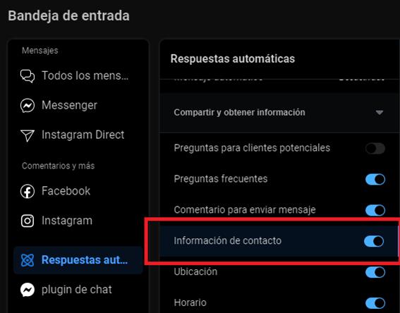 Configurar Información de contacto